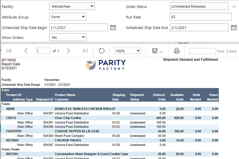report made possible by ParityFactory WMS